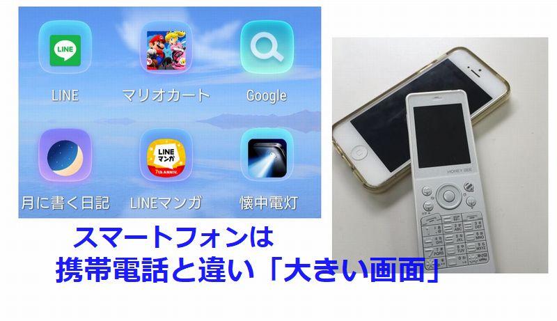 スマートフォンは【携帯電話と違い大きい画面】
